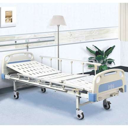 manual medical care bed with two cranks
