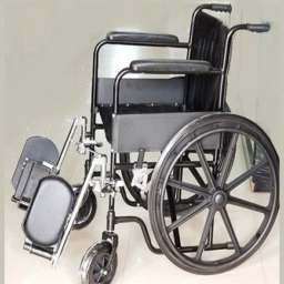 Steel coated black frame wheelchair with Detachable elevating legrest